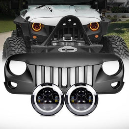 wildrock4x4 Grille Parts Halo Headlights & Eagle Eye Grille (07-18 Wrangler JK)