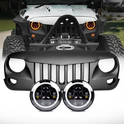 Halo Headlights & Eagle Eye Grille (07-18 Wrangler JK)
