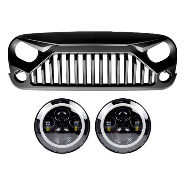 Halo Headlights & Gladiator Grille (07-18 Wrangler JK)