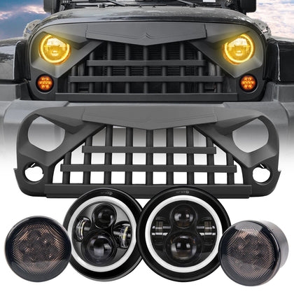 wildrock4x4 Grille Parts Halo Headlights & Warrior Grille & Turn Signal Lights