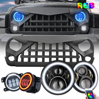 wildrock4x4 Grille Parts JK Warrior Grille & RGB Halo Headlights & RGB Halo Fog Lights