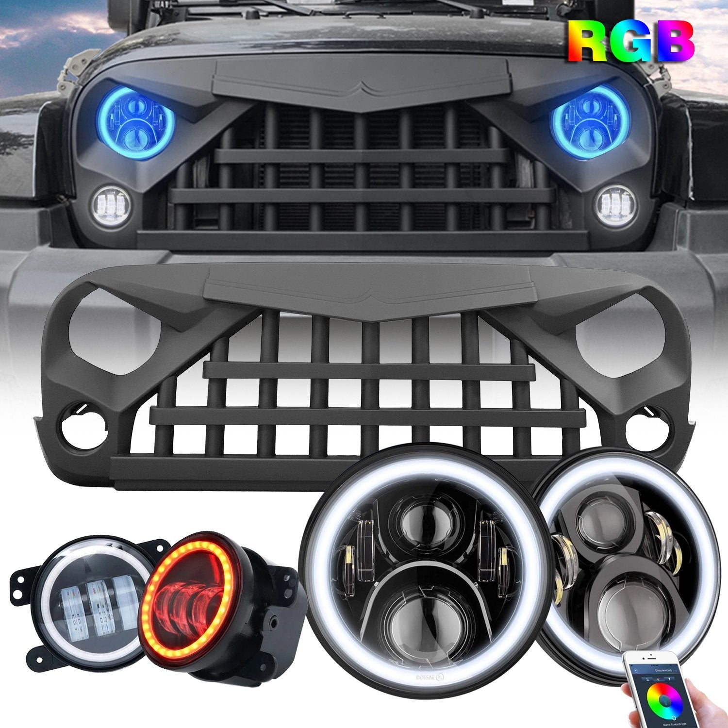 JK Warrior Grille & RGB Halo Headlights & RGB Halo Fog Lights