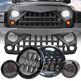 wildrock4x4 Grille Parts LED Headlights & Warrior Grille & LED Smoke Turn Signals