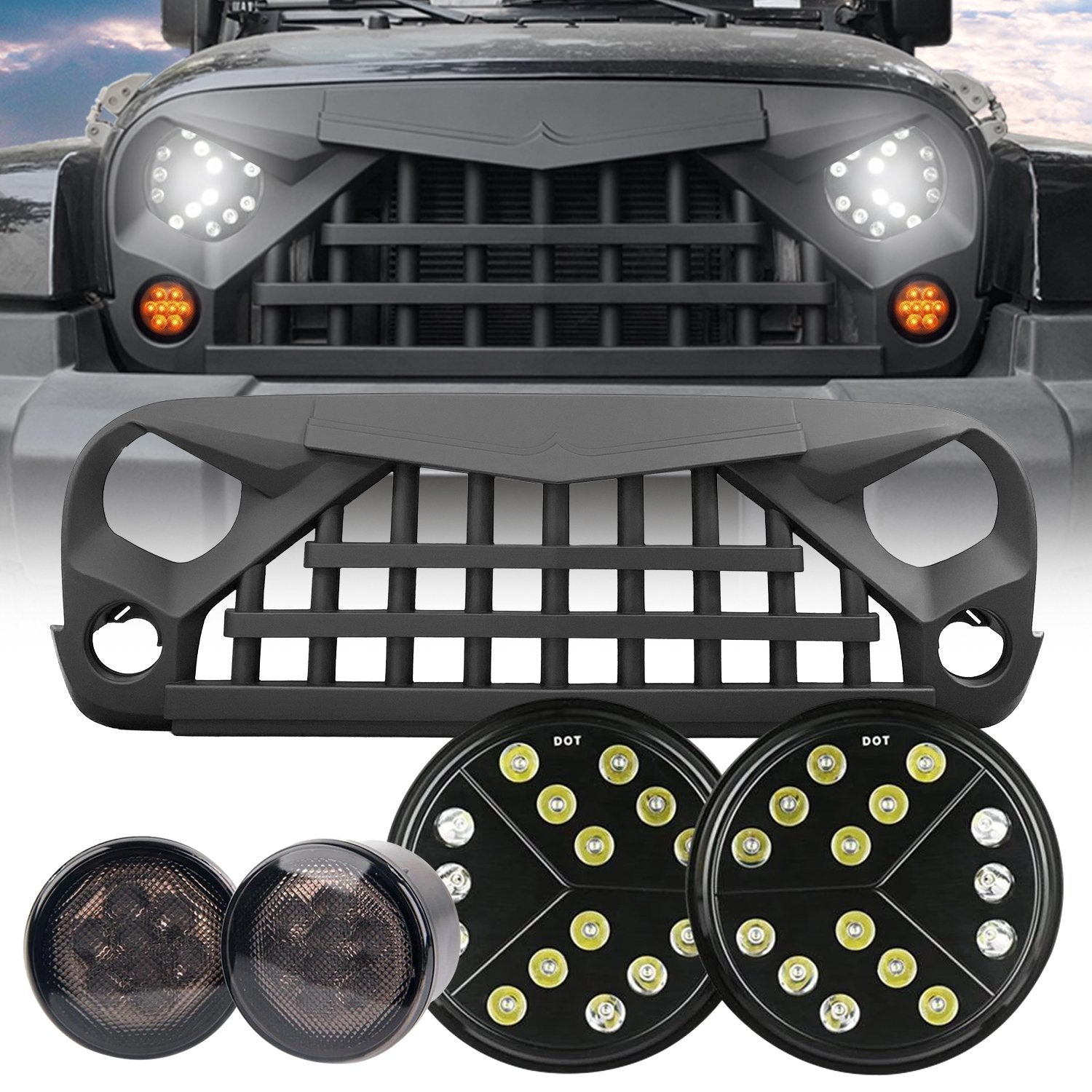 LED Headlights & Warrior Grille & LED Star Amber Turn Signals