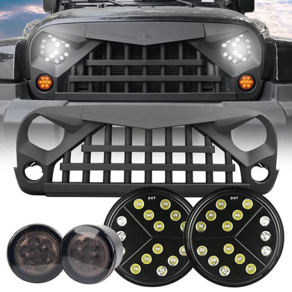 wildrock4x4 Grille Parts LED Headlights & Warrior Grille & LED Star Amber Turn Signals