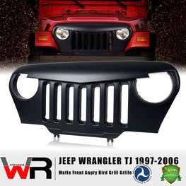 wildrock4x4 Grille Parts Matte Black Angry Bird Grille for Jeep Wrangler TJ 97-06