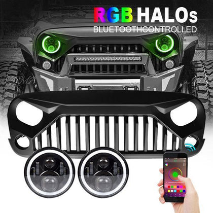 wildrock4x4 Grille Parts RGB Halo Headlights & Vader Combo for Jeep Wrangler JK/ JKU
