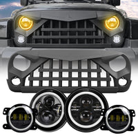 wildrock4x4 Grille Parts Warrior Grille & Halo Headlights & Halo Fog Lights Combo