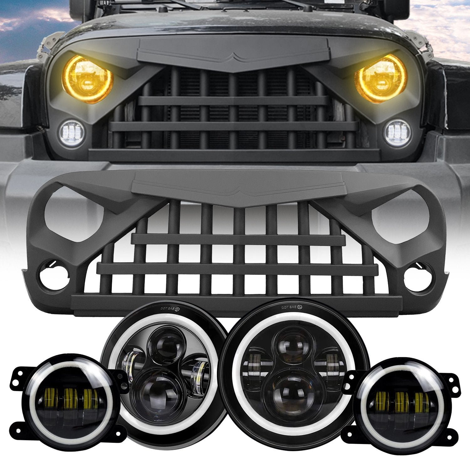 Warrior Grille & Halo Headlights & Halo Fog Lights Combo