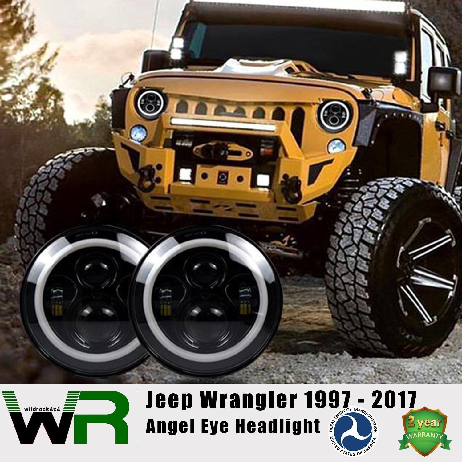 7 Inch Halo Headlights for Jeep Wrangler TJ JK 97-18