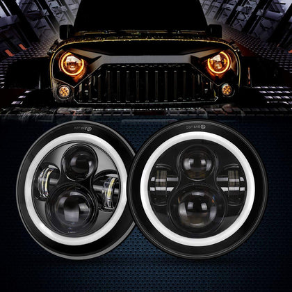 wildrock4x4 Headlights 7 Inch Halo Headlights for Jeep Wrangler TJ JK 97-18