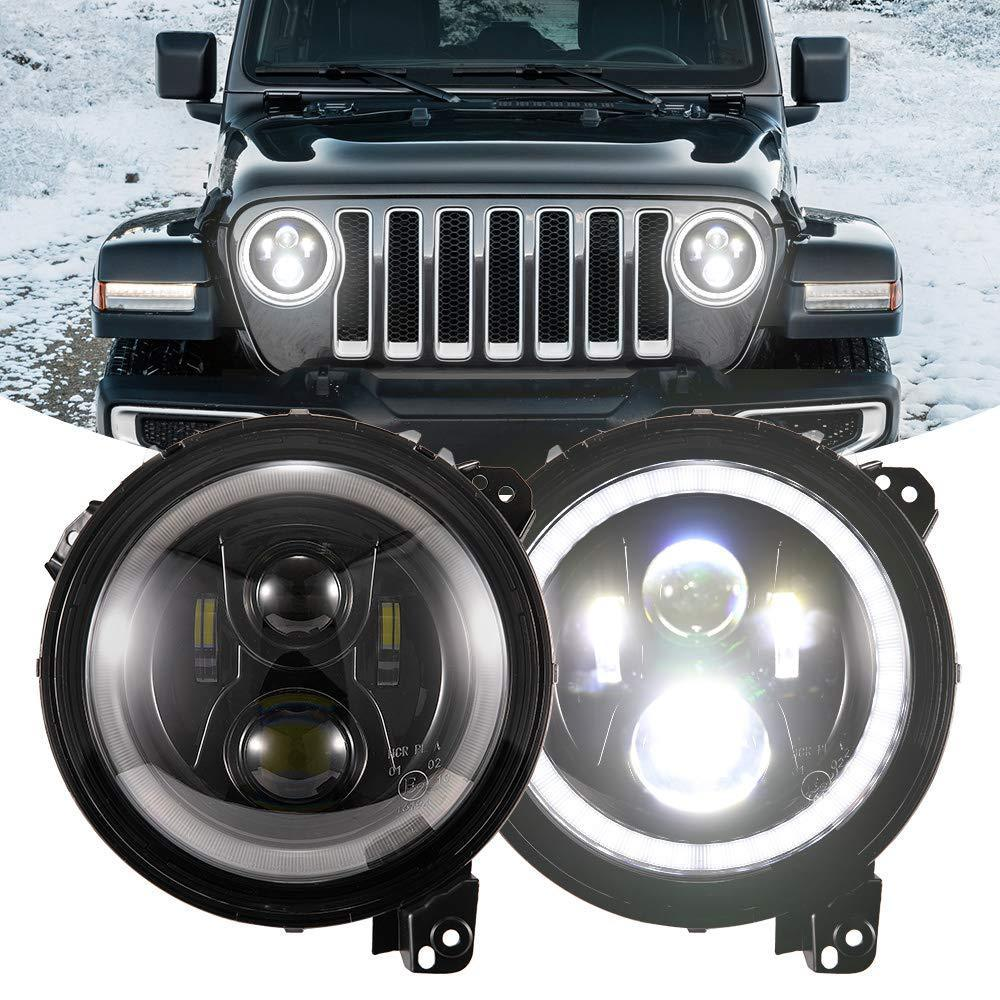 9 Inch Halo Eye Headlights for 18-19 Jeep Wrangler JL