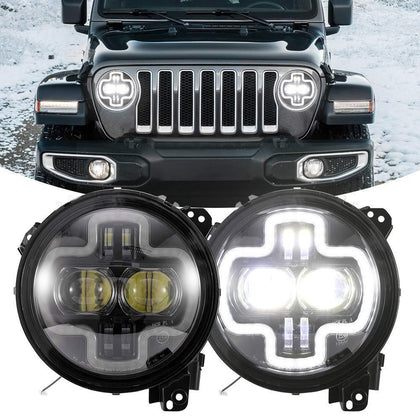 wildrock4x4 Headlights 9 Inch Round LED Headlights for 18-19 Jeep Wrangler JL