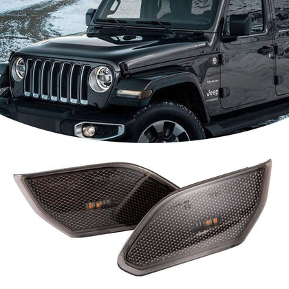 LED Side Maker Lights Fender for Jeep Wrangler JL 2018 2019