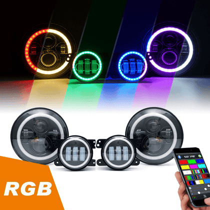 wildrock4x4 Headlights RGB Halo Headlights & RGB Halo Fog Lights for Jeep Wrangler