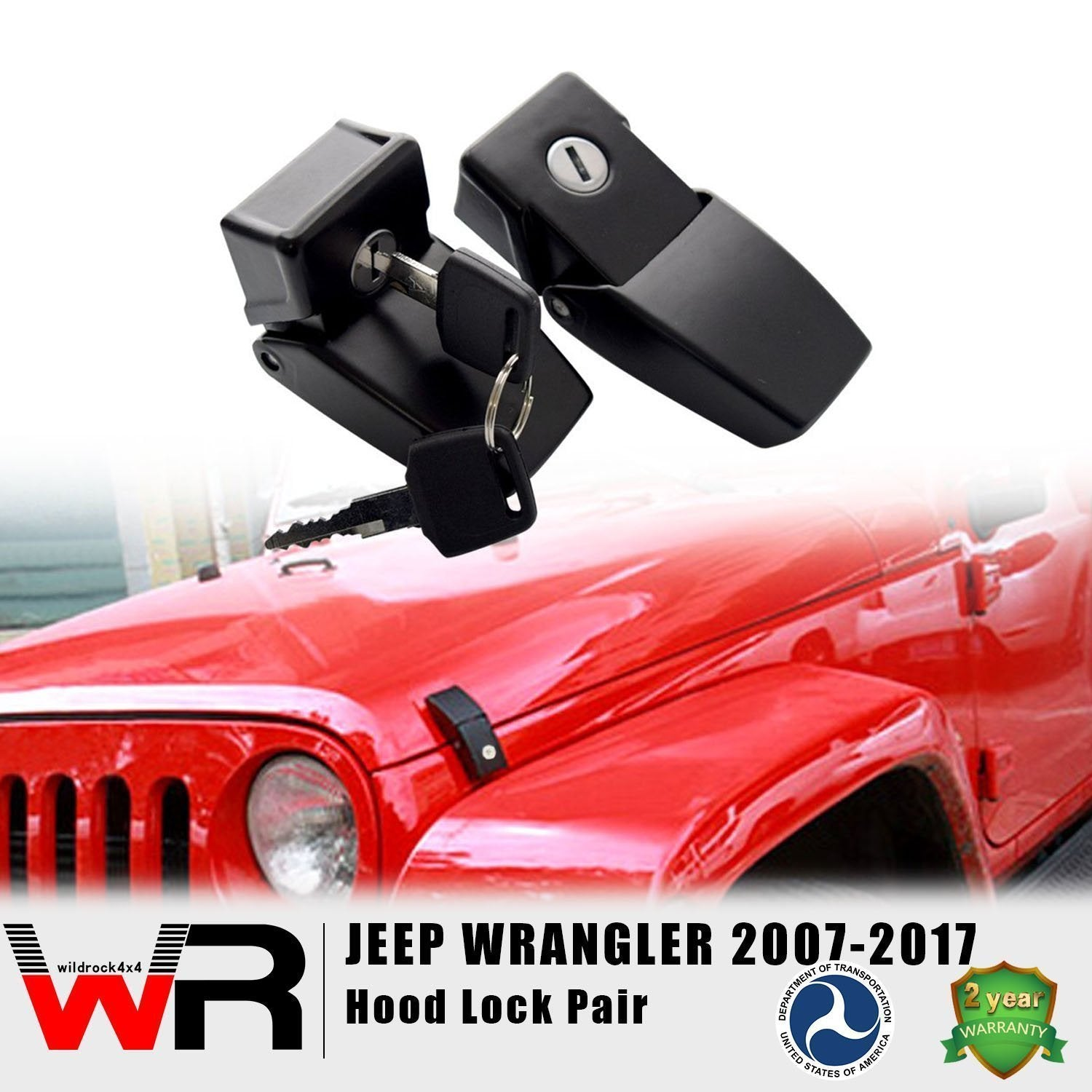 Hood Lock Kit for Jeep Wrangler JK 07-18-Pair