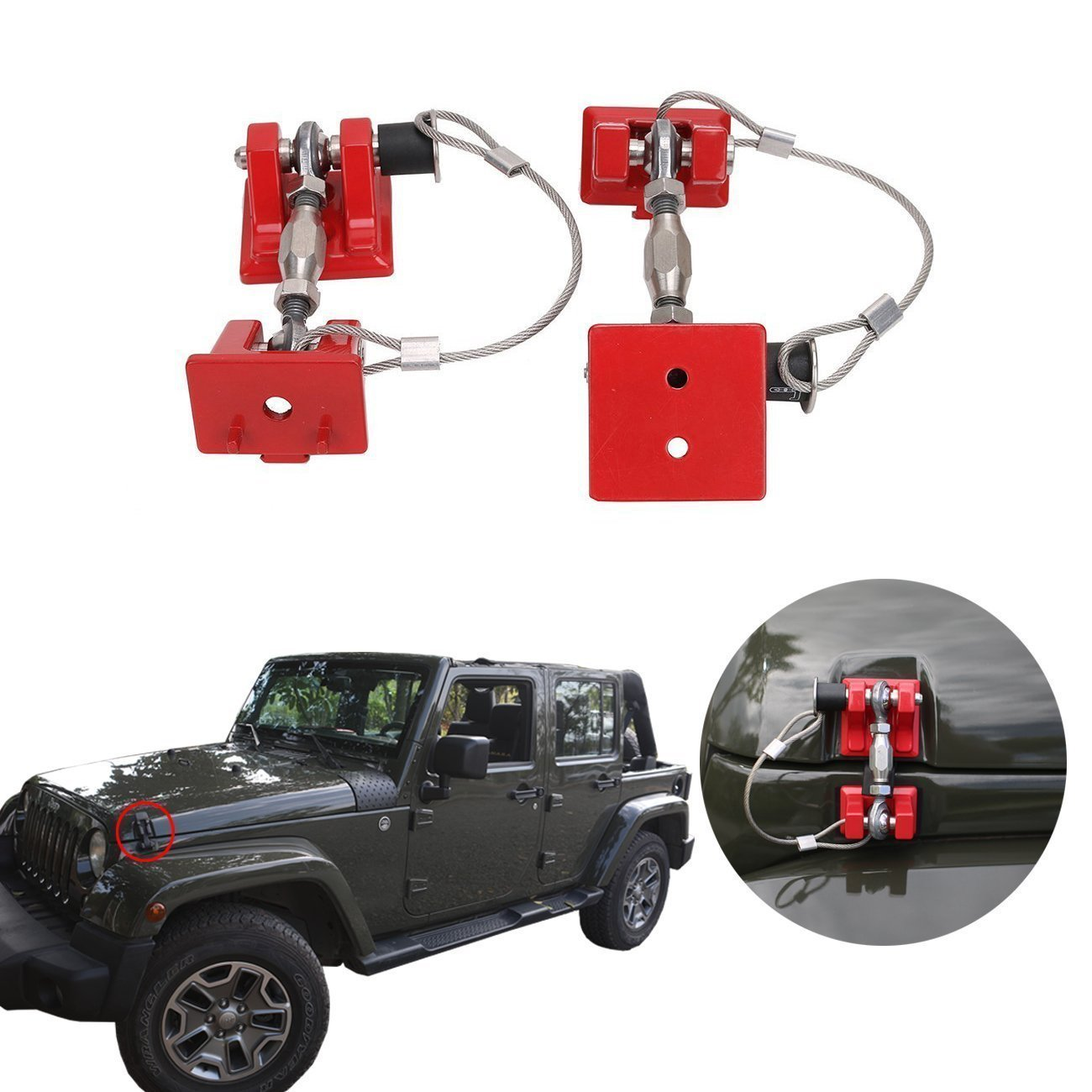 Red Style Hood Catch Kit for Jeep Wrangler JK 07-17-Pair