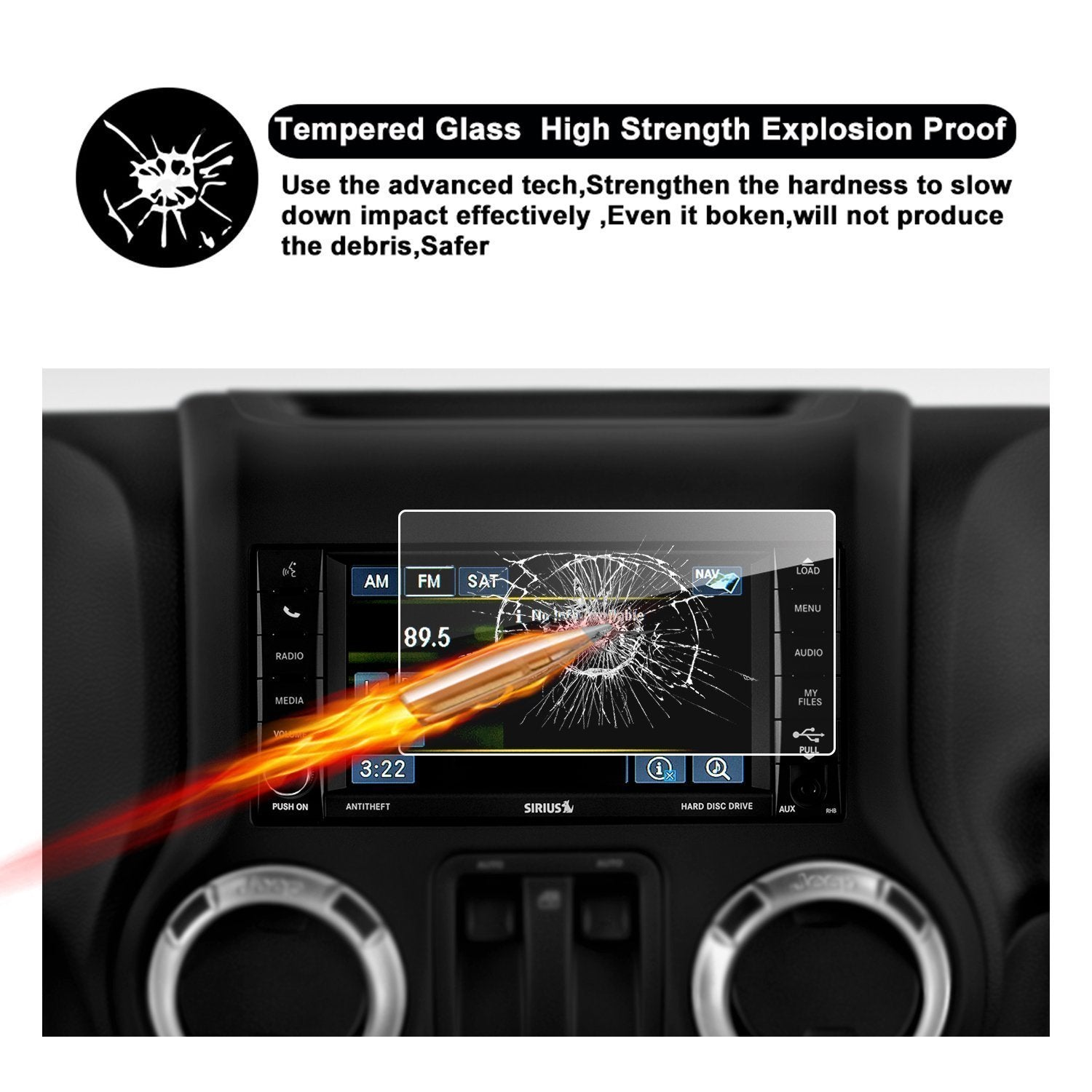 "14-18 Jeep Wrangler JK 6.5"" Media Center Screen Protector"