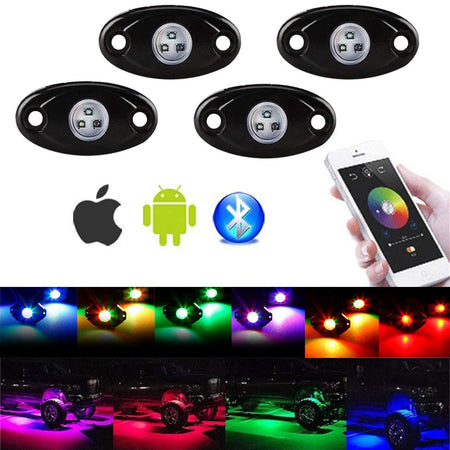 WildRock4x4 Lighting 4 Pods Lights RGB LED Rock Lights Bluetooth Multicolor
