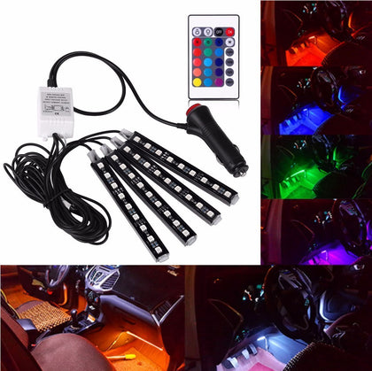 RGB LED Lights Multicolor 4pcs 36 LEDS Wireless Control
