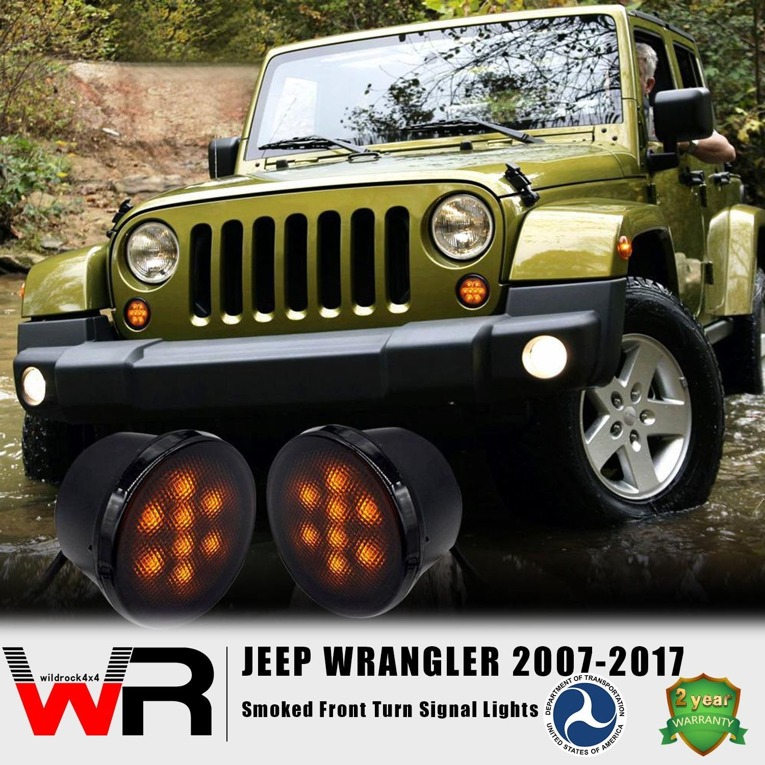 Smoked Front Turn Signal for Jeep Wrangler JK 2007-2017-Pair