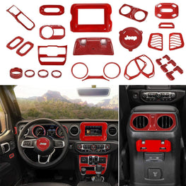 WildRock4x4 Panel Covers Red Full Set Interior Decoration For Jeep Wrangler 2018 JL