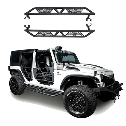 wildrock4x4 Step Rails & Running Boards Black Side Steps for 07-18 Jeep Wrangler JKU 4-Door