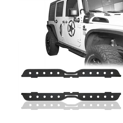 wildrock4x4 Step Rails & Running Boards Textured Black Steel Side Steps for 02-18 Jeep Wrangler JK 4-Door