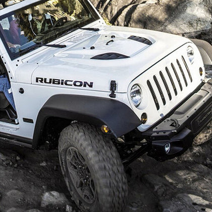 wildrock4x4 Stickers & Decals Black Jeep Rubicon Hood Decals WHITE/BLACK (1 Pair)
