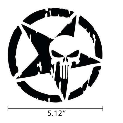 wildrock4x4 Stickers & Decals Black Star&Skull Five-pointed Star & Skull Head Car Sticker Decoration