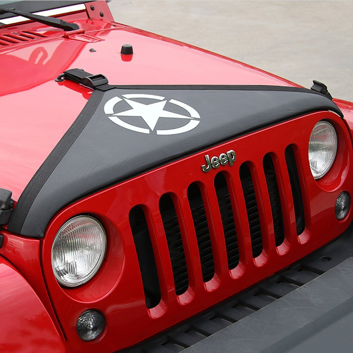 Car Canvas Front Hood Cover Kit For Jeep Wrangler 07-17