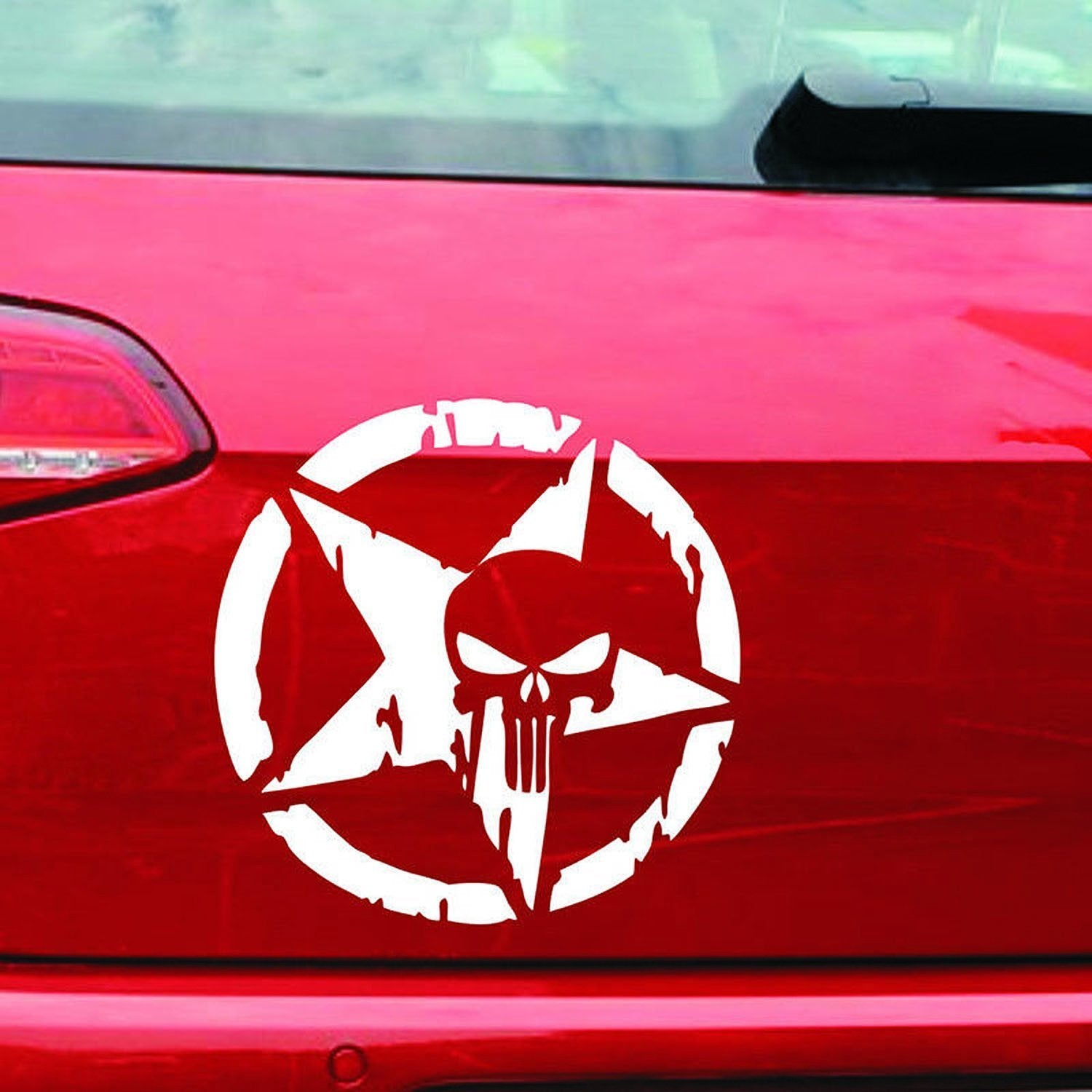 Five-pointed Star & Skull Head Car Sticker Decoration