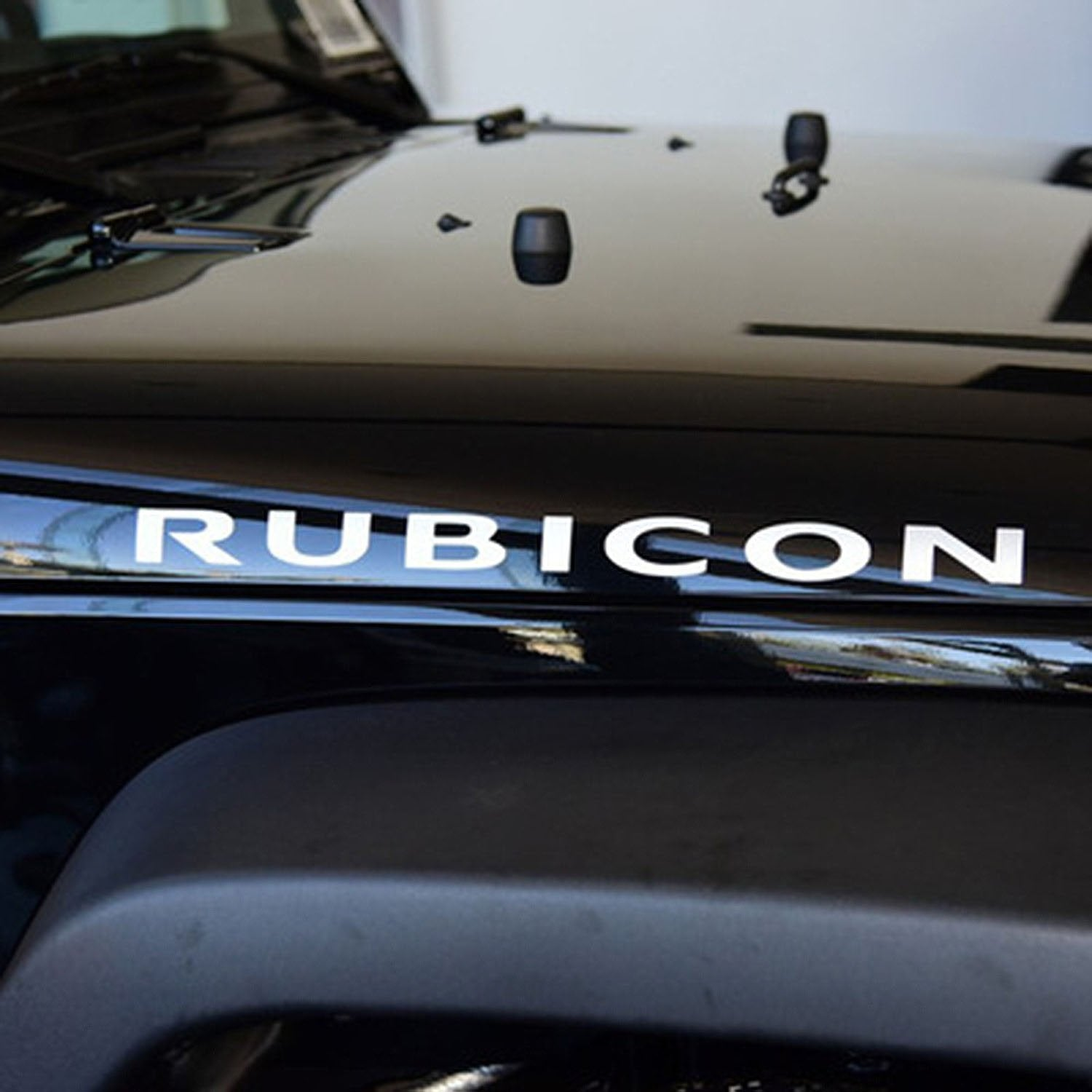 1 Pair Black Red Jeep Wrangler Rubicon Hood Decal Exterior Accessories Bumper Stickers Decals Magnets