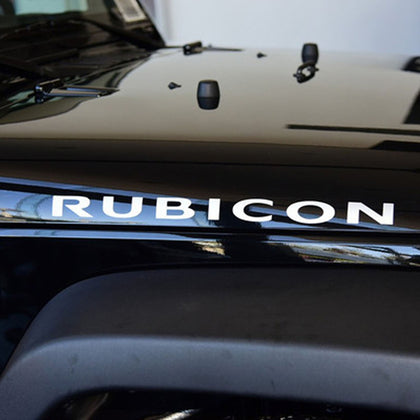 Jeep Rubicon Hood Decals WHITE/BLACK (1 Pair)