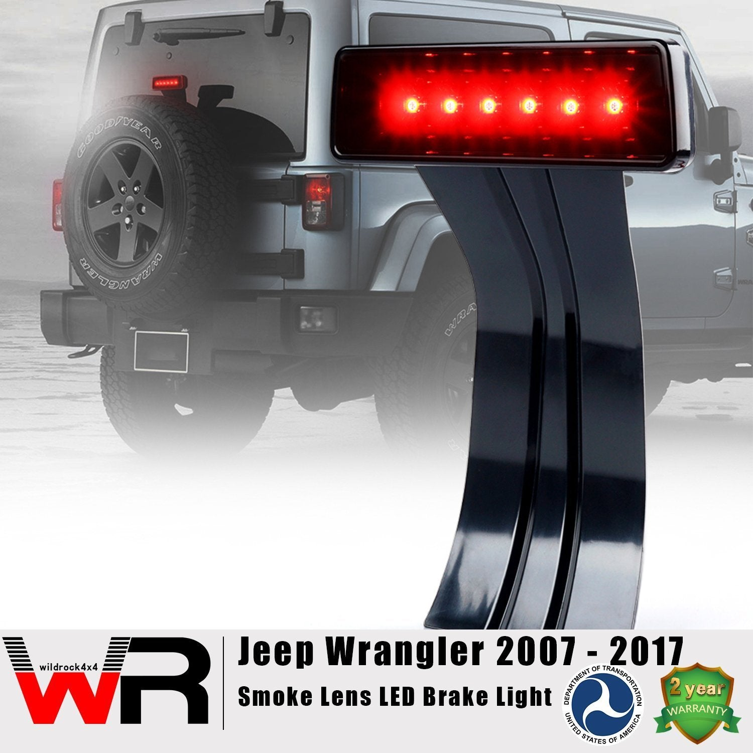 Smoked LED Third Brake Light for Jeep Wrangler JK 07-17