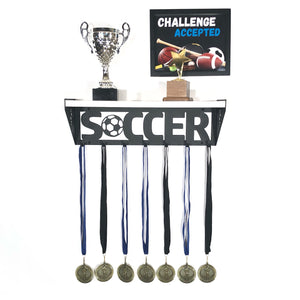 Soccer Trophy and Medal Shelf - White