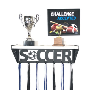 Soccer Trophy Shelf - White