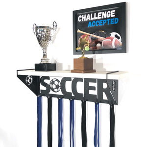 Soccer Trophy Display Shelf - White