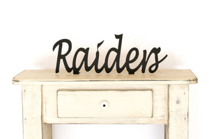 Raiders Shelf Sign