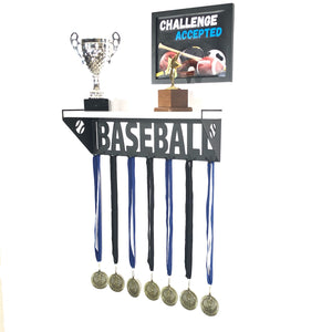 Baseball Trophy and Medal Shelf - White