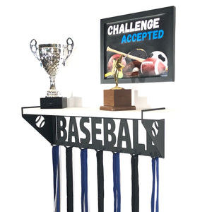 Baseball Trophy Display Shelf - White