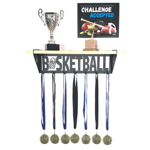 Basketball Trophy and Medal Shelf - Pine