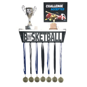 Basketball Trophy and Medal Shelf - White