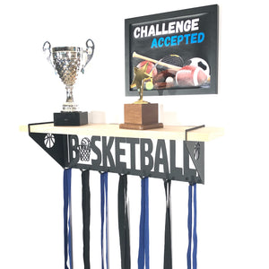 Basketball Trophy Display Shelf - Pine