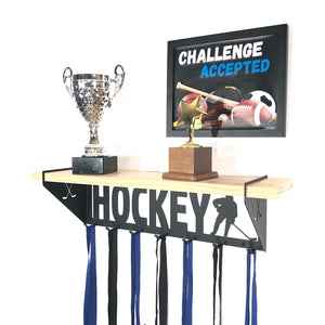 Hockey Trophy Display Shelf - Male - Pine
