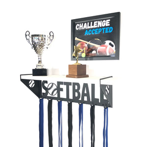 Softball Trophy Display Shelf - White