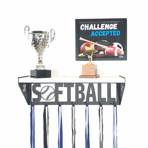 Softball Trophy Shelf - White