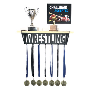 Wrestling Trophy and Medal Shelf - Pine