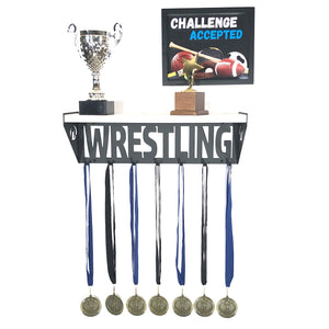 Wrestling Trophy and Medal Shelf - White