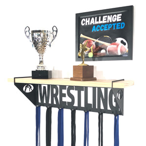 Wrestling Trophy Display Shelf - Pine